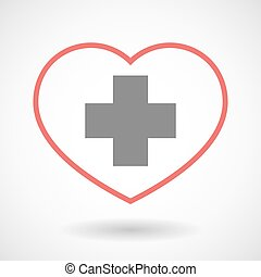 Line heart icon with a pharmacy sign