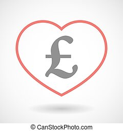 Line heart icon with a pound sign - Illustration of a line...