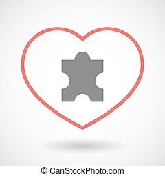 Line heart icon with a puzzle piece