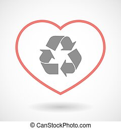 Line heart icon with a recycle sign