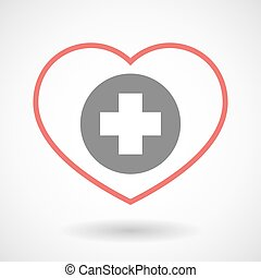 Line heart icon with a round pharmacy sign