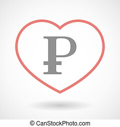 Line heart icon with a ruble sign