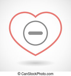 Line heart icon with a subtraction sign