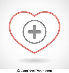 Line heart icon with a sum sign