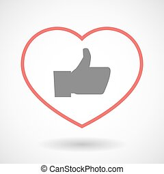 Line heart icon with a thumb up hand