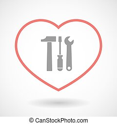 Line heart icon with a tool set