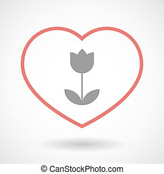 Line heart icon with a tulip