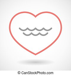 Line heart icon with a water sign