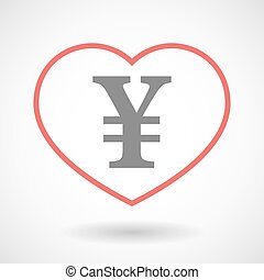 Line heart icon with a yen sign