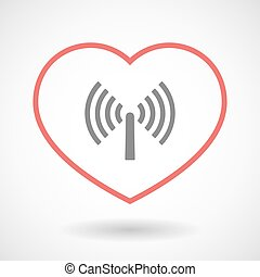 Line heart icon with an antenna