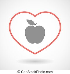 Line heart icon with an apple