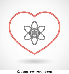 Line heart icon with an atom