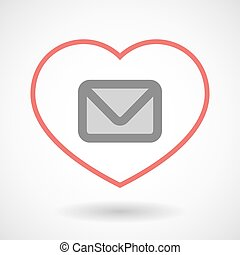 Line heart icon with an envelope