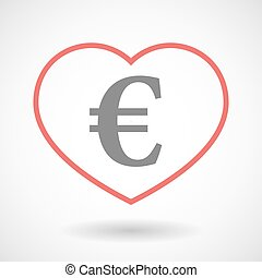 Line heart icon with an euro sign