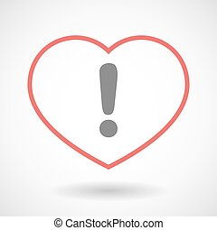 Line heart icon with an exclamarion sign
