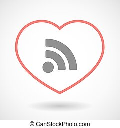 Line heart icon with an RSS sign