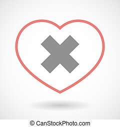 Line heart icon with an x sign