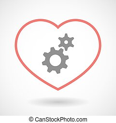 Line heart icon with two gears