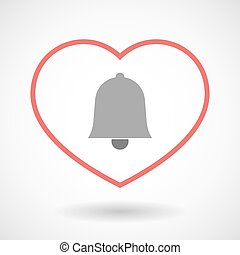 Line hearth icon with a bell