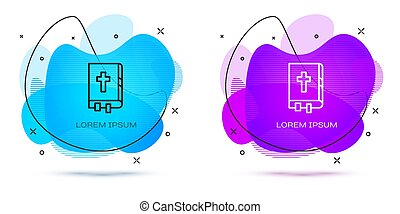 Line Holy bible book icon isolated on white background. Abstract banner with liquid shapes. Vector Illustration