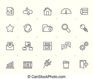 Line Hosting, server and internet icons