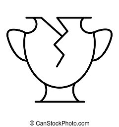 Line icon broken vase. Vector icon isolated on white. Flat and outline design. Eps 10.