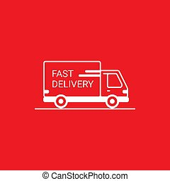 Line icon- delivery. Van outline icon on white background. Delivery service. Delivery by car or truck. Parcels Express delivery service by car. Line style design truck icon.