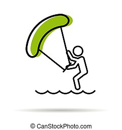 Line icon - Kitesurfing - Vector linear icon - man with...
