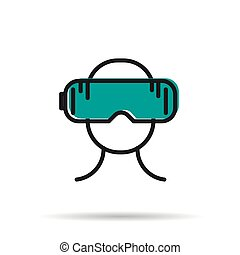 Line icon - man with virtual reality mask