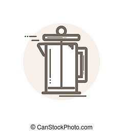 Line icon of french press