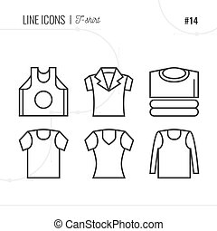 Line Icon of T-shirt, Clothes, Isolated Object. Line icons set.