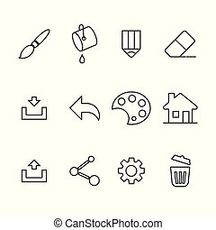 Line Icon Set isolated on white background vector