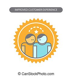 Line icon with flat design elements of business concepts, improved customer experience. Modern vector pictogram.