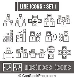 Line icons black set 1. Illustration eps 10 on white background