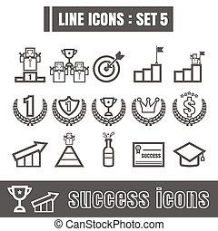 Line icons black set 5. Illustration eps 10 on white background