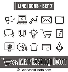 Line icons black set 7. Illustration eps 10 on white background