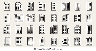 Line Icons Building, Company Vector set