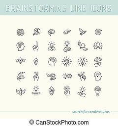 Line icons collection of human brain process, people thinking, emotions, mental health, creative process, business solution, character experience, strategy and development, opportunities