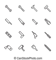 Line icons. Construction equipment