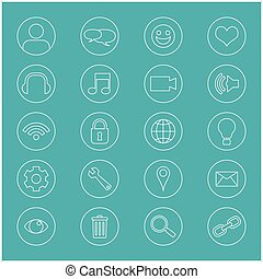 Line Icons For Business. Office Icons Set