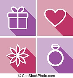 Line icons for valentines day or wedding design