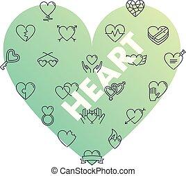 Line icons in heart shape. Heart