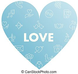 Line icons in heart shape. Love