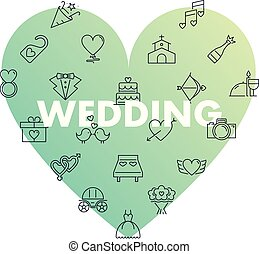 Line icons in heart shape. Wedding