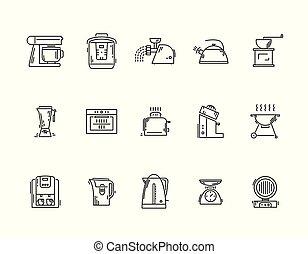 Line icons kitchen utensils appliances and kitchenware