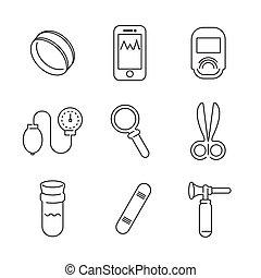 Line Icons Medical Basic Device Icon Set