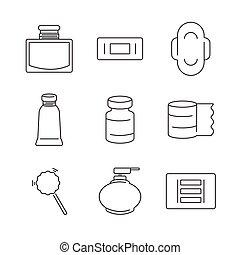 Line Icons Medical Pharmacist, Basic equipment  Icons