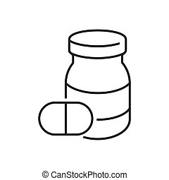 line icons Medical Pharmacist, pill bottle icon