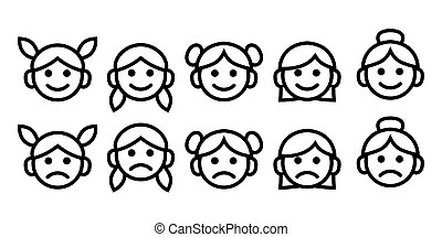 Line icons of female of different ages: baby, girl, teenager, woman, granny. Simple outline drawing symbol set. Vector icons collection isolated.