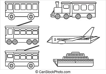 Line icons of public transport.